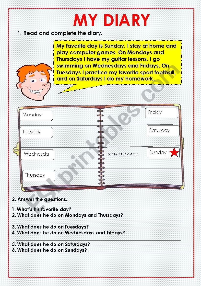 My diary ( present simple ) worksheet