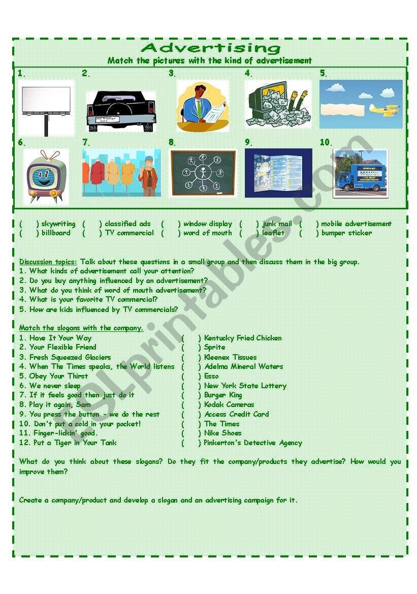 Kinds of advertisement worksheet