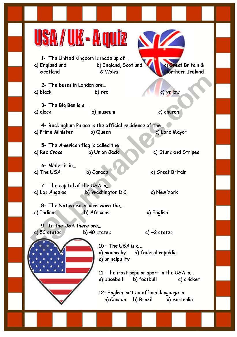 USA / UK quiz worksheet