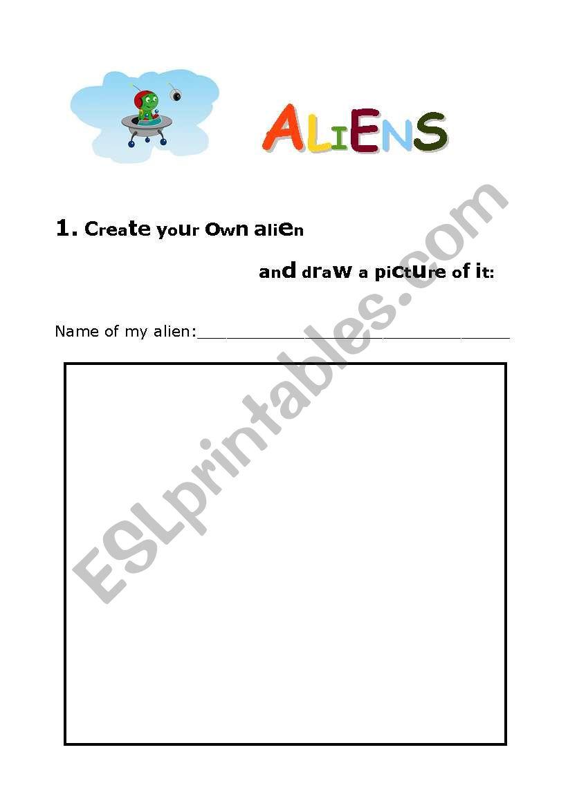 Drawing ALIENS worksheet