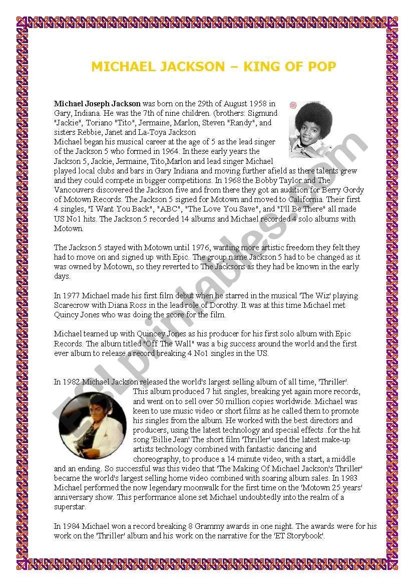 Michael Jackson´s biography worksheet