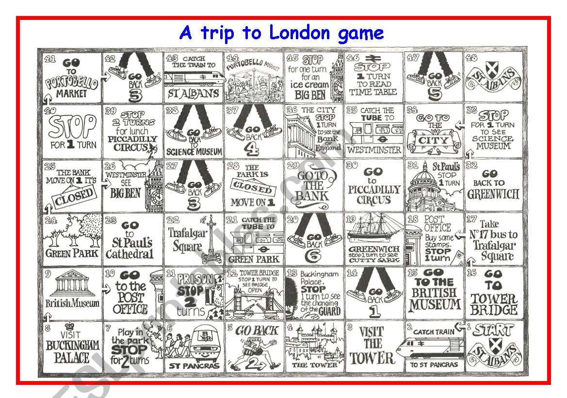 A trip to London game worksheet