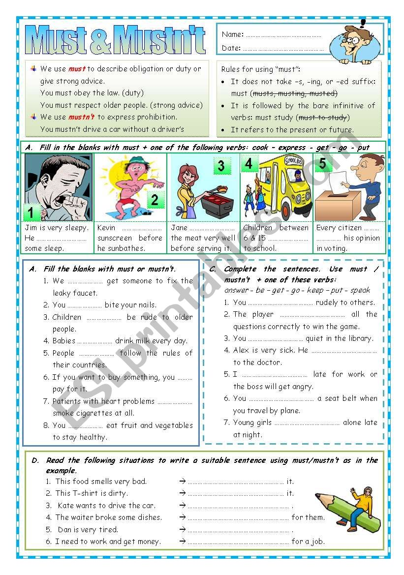 Must & Mustn´t worksheet