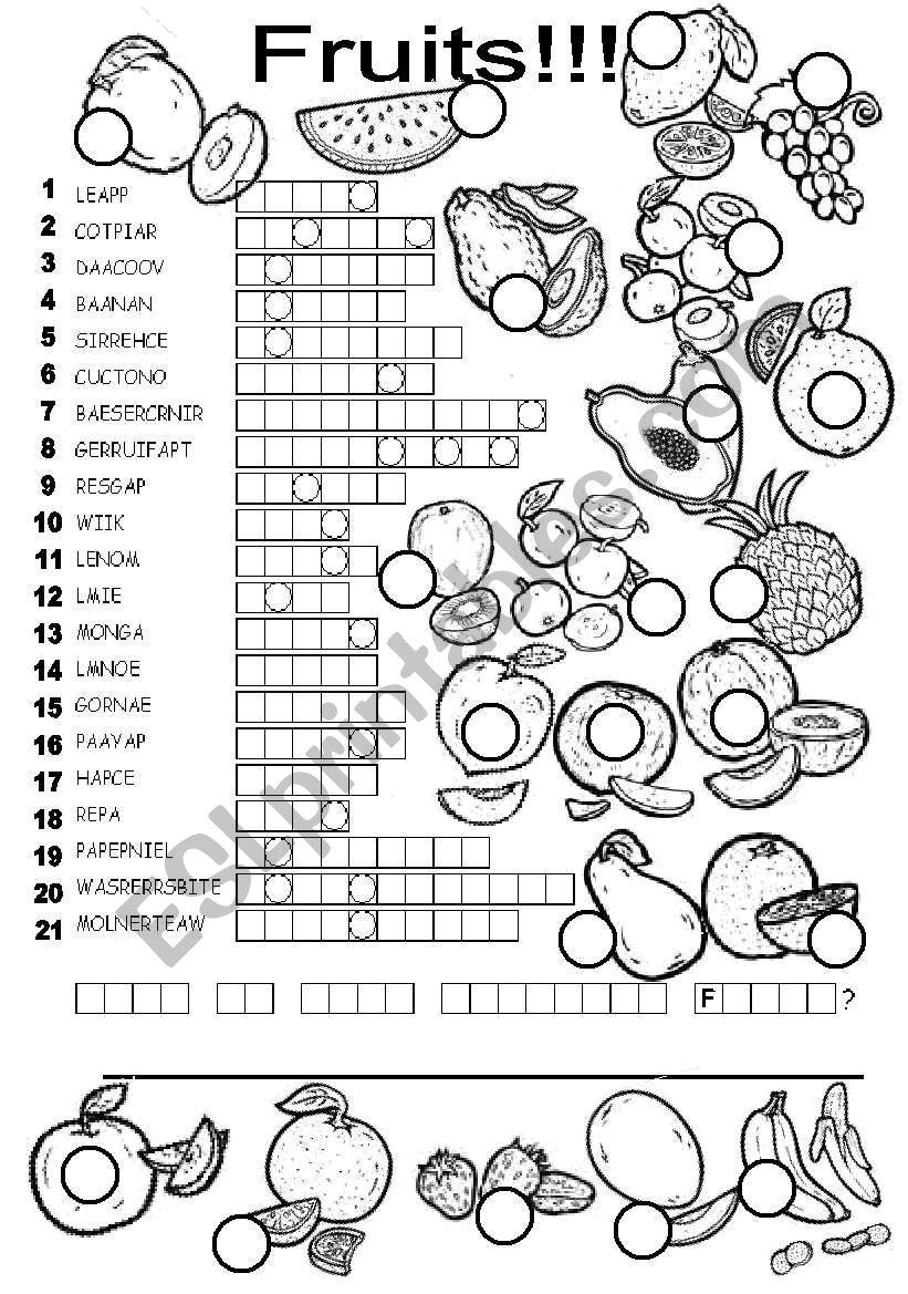 FRUITS PUZZLE worksheet
