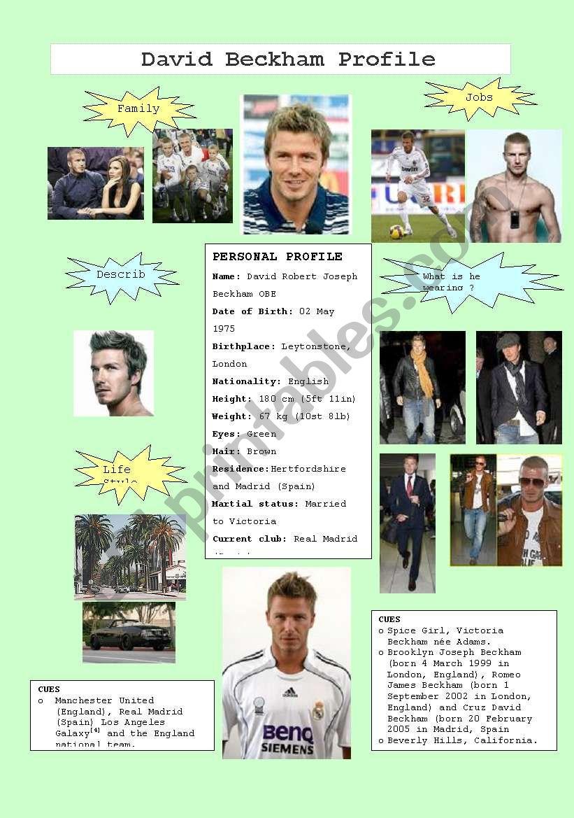 David Beckham Profile worksheet