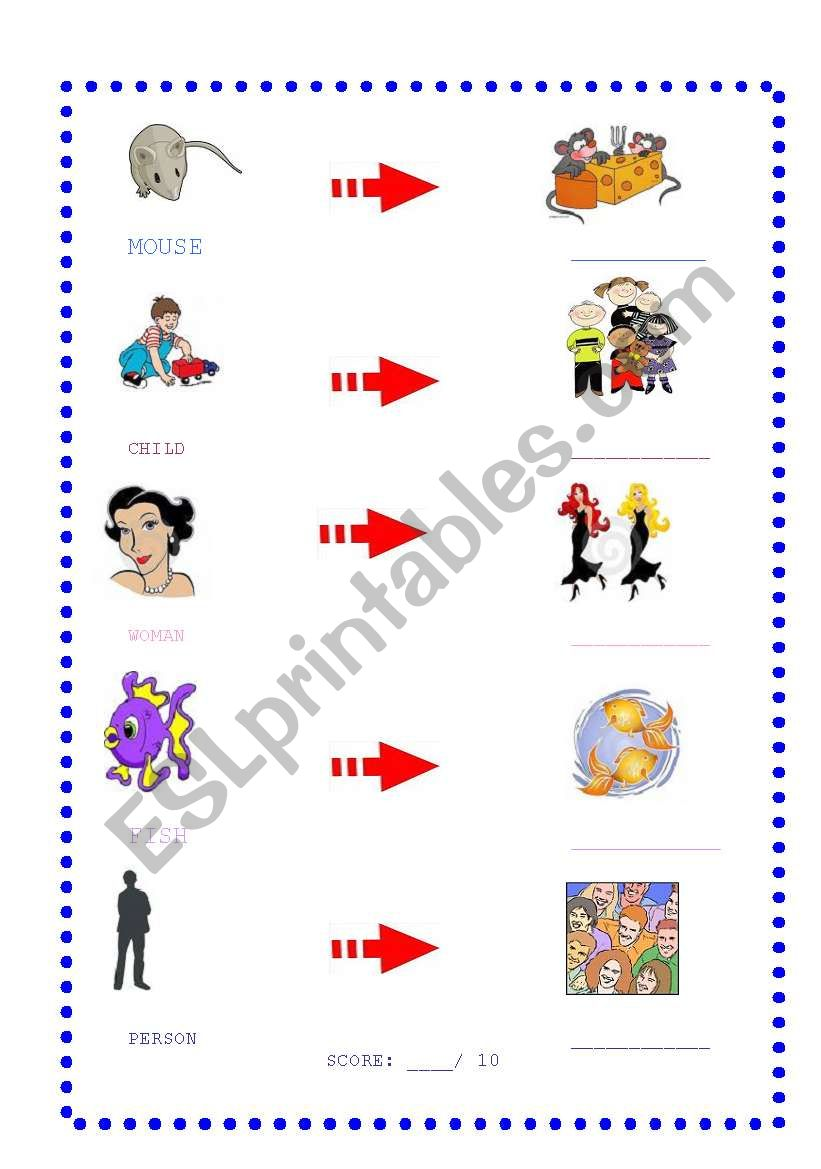 Irregular plurals Page Two worksheet