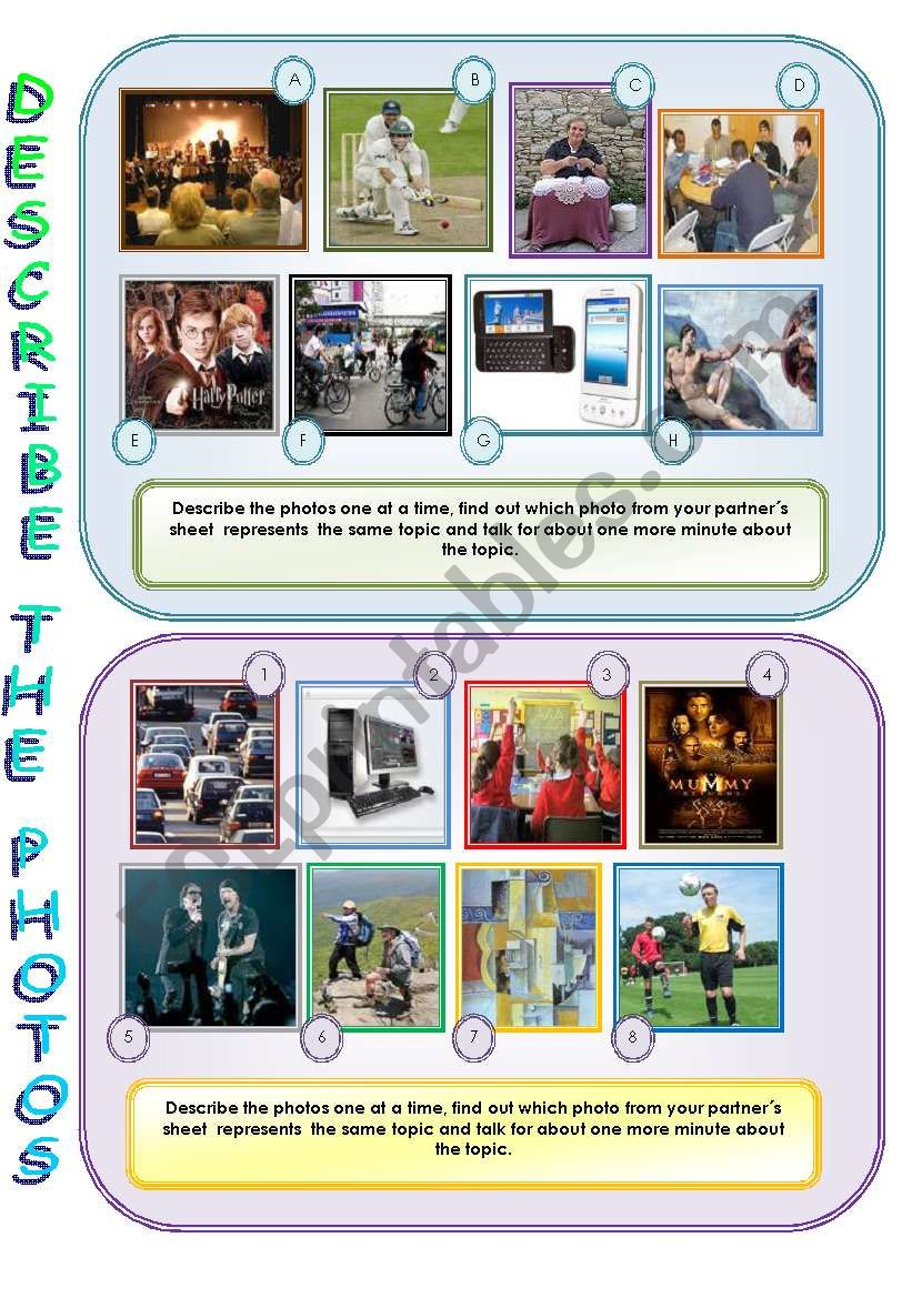Describe and compare the photos - speaking activity for intermediate+ Ss