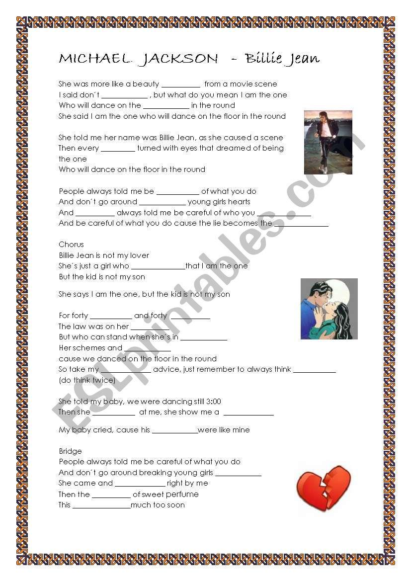 Michael Jackson - Billie Jean worksheet