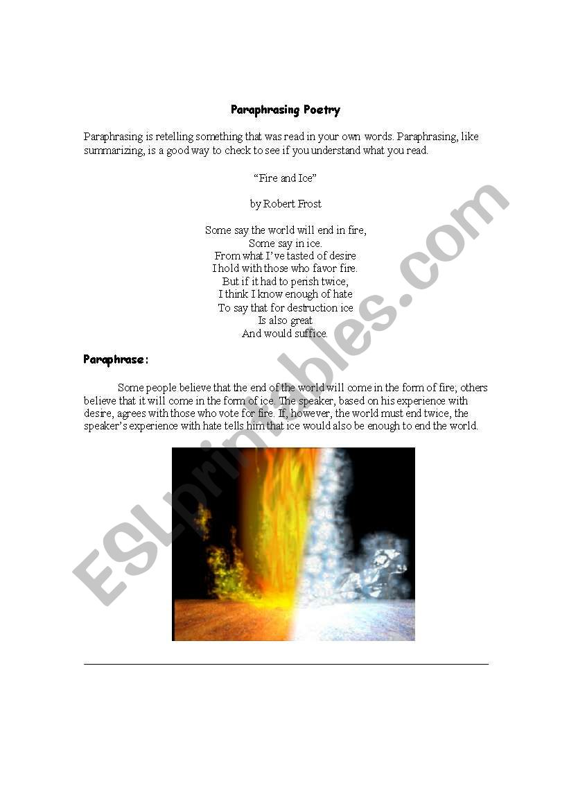 English Worksheet Paraphrasing Poetry Fire And Ice How To Paraphrase A Poem For Different Content