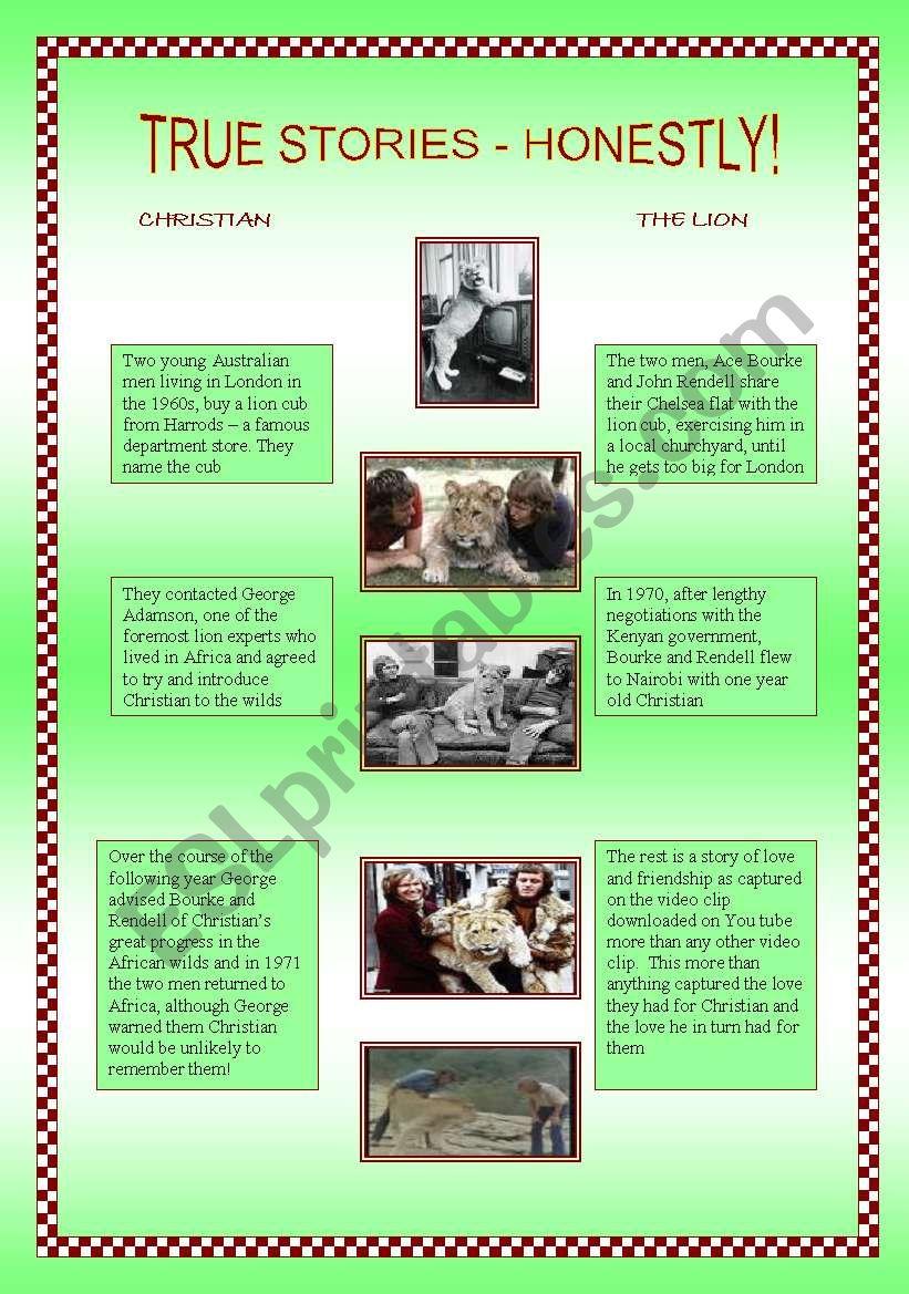 Christian the lion worksheet