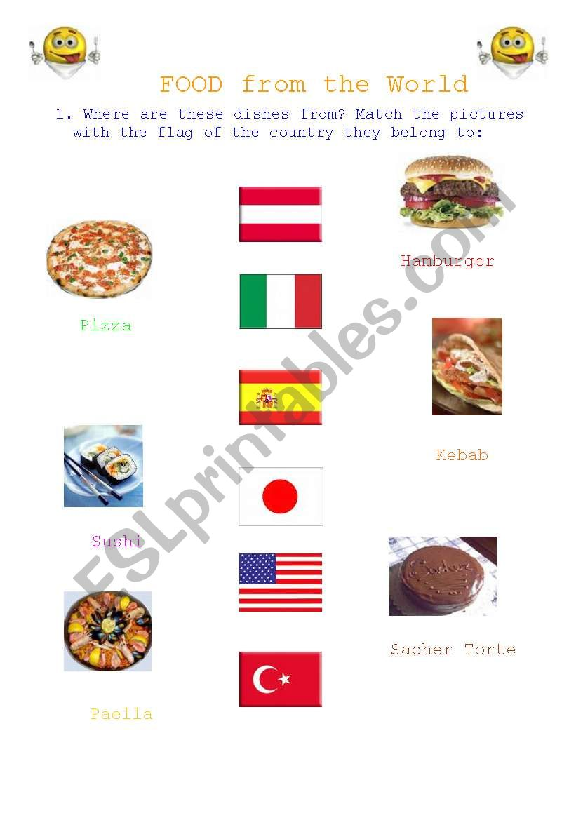 Food from the World worksheet