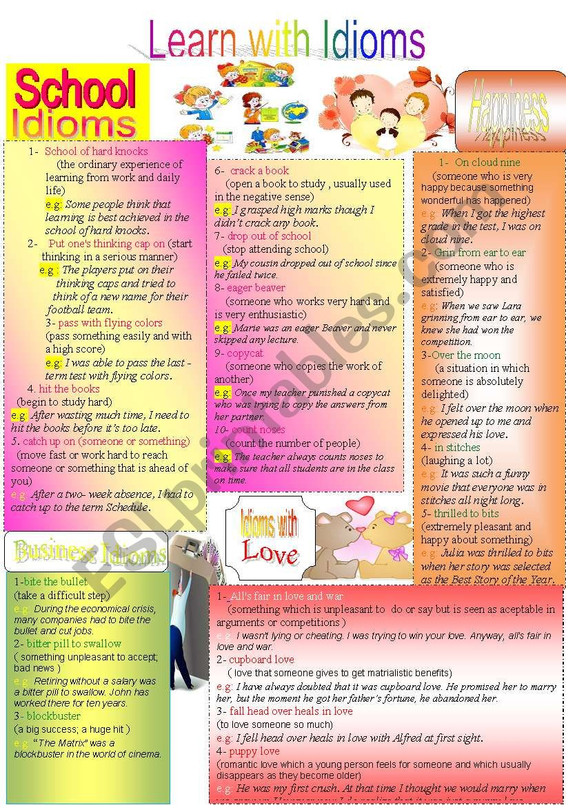 Learn with Idioms ( Part 8 ) worksheet