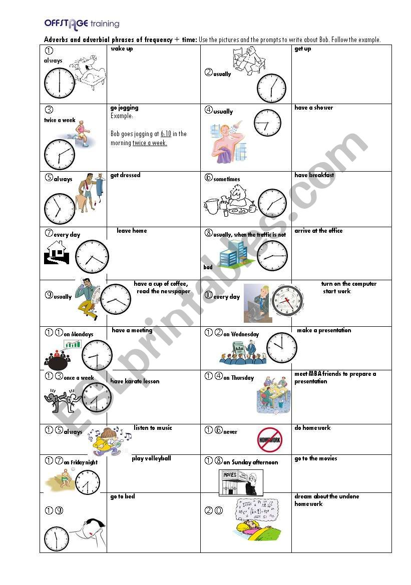 adverbs and adverbial phrases of frequency time esl worksheet by offstage. Black Bedroom Furniture Sets. Home Design Ideas