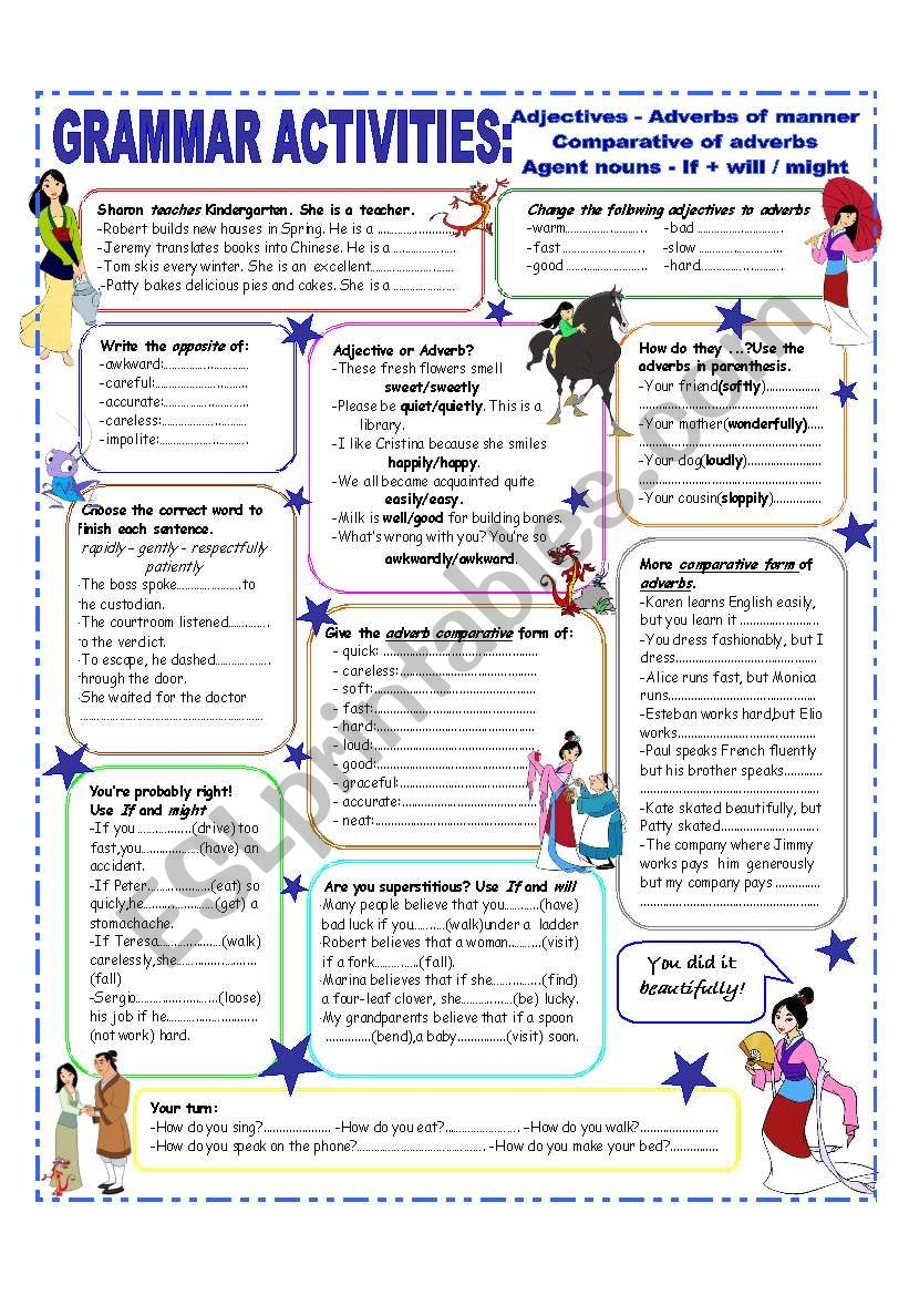 ADJECTIVES & ADVERBS - COMPARATIVE FORM OF ADVERBS - INTERMEDIATE and UPPER