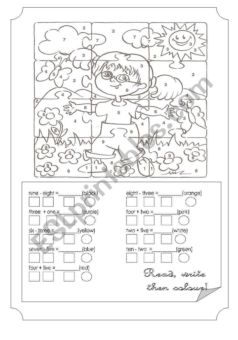 Colours & Numbers worksheet