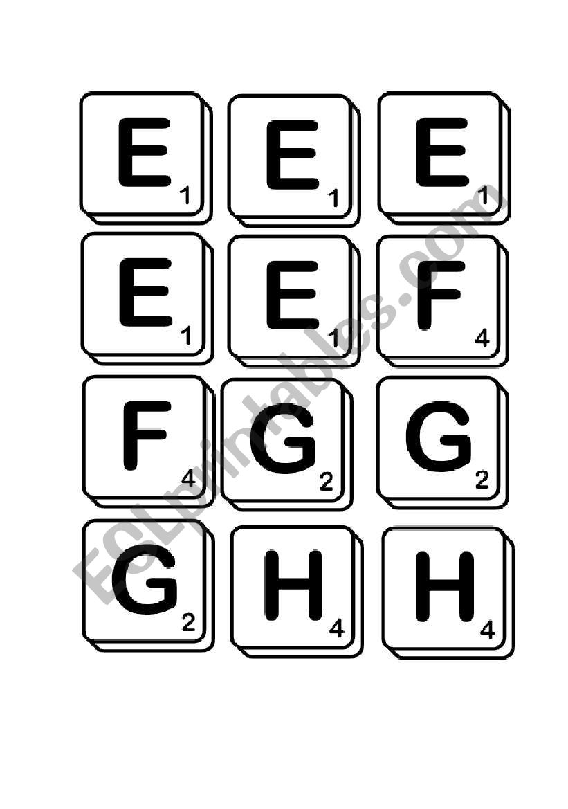 graphic about Scrabble Tiles Printable named Printable Scrabble tiles - ESL worksheet as a result of WRCfan