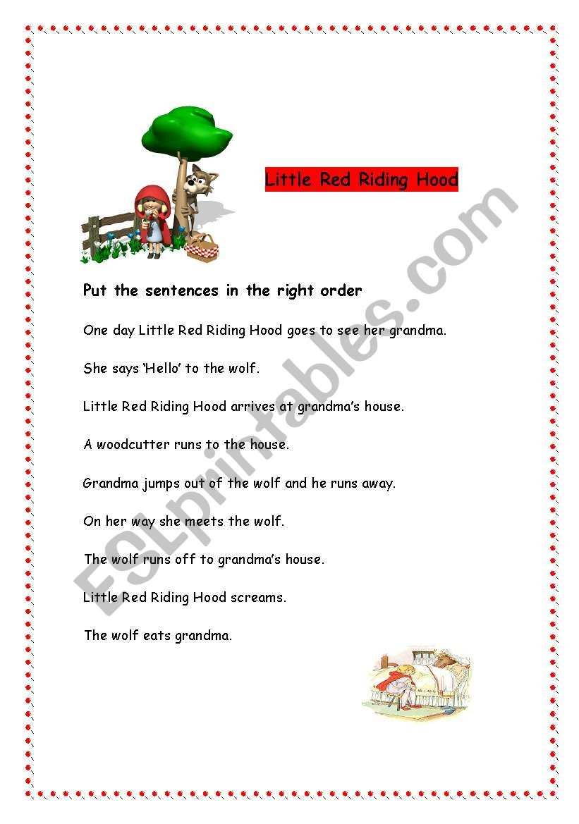 photograph relating to Little Red Riding Hood Story Printable identified as Very little Pink Driving Hood worksheet - ESL worksheet as a result of raquelgil