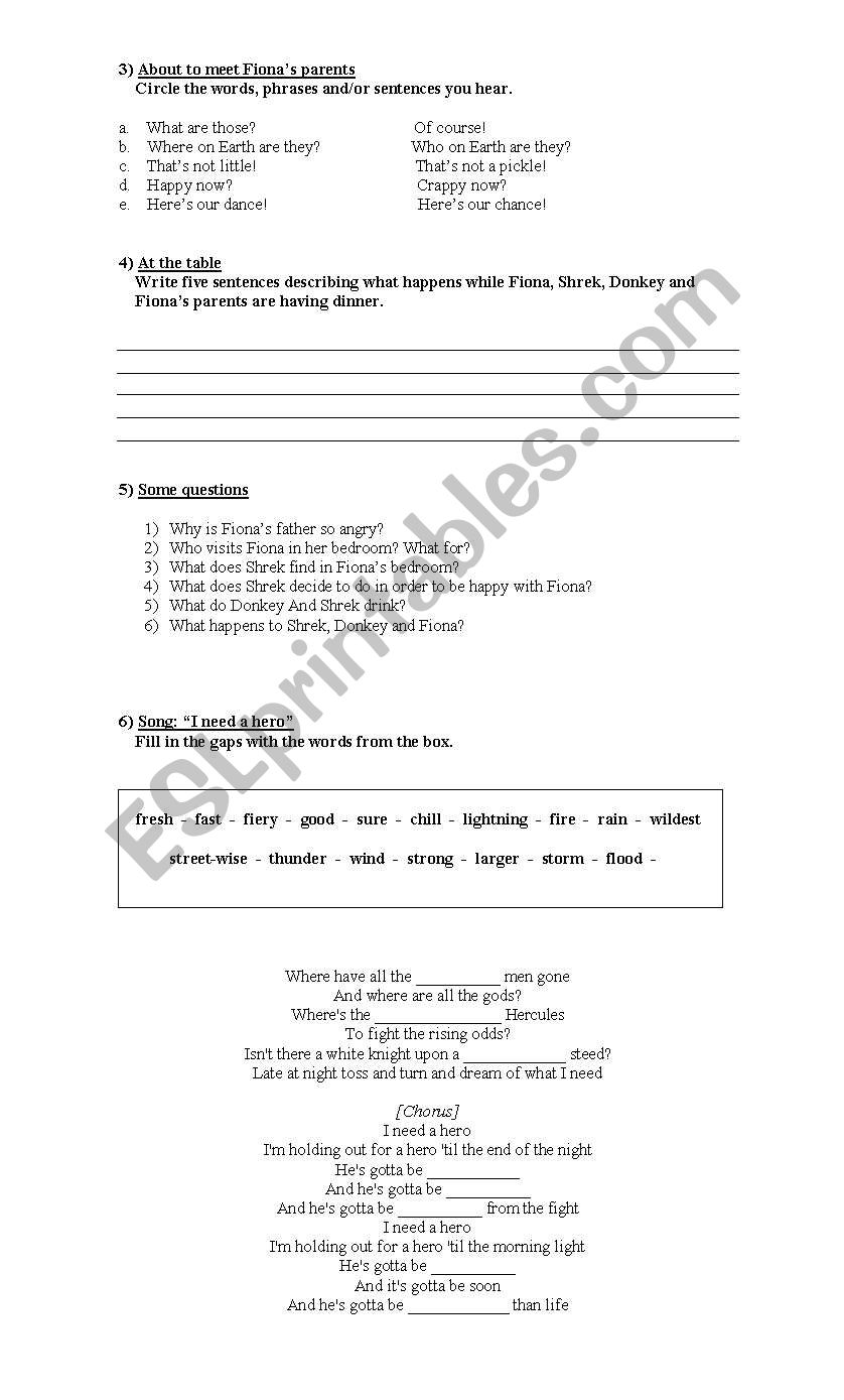 shrek - ESL worksheet by cintia_pascal