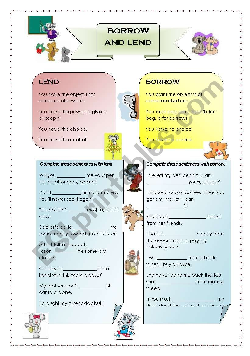 Borrow and Lend worksheet