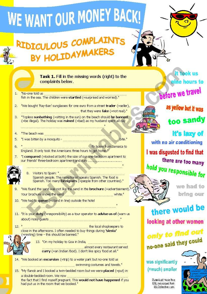 Ridiculous Complaints by Holidaymakers (Vocabulary List+Gap-fill+Vocab Exercises w Solutions)