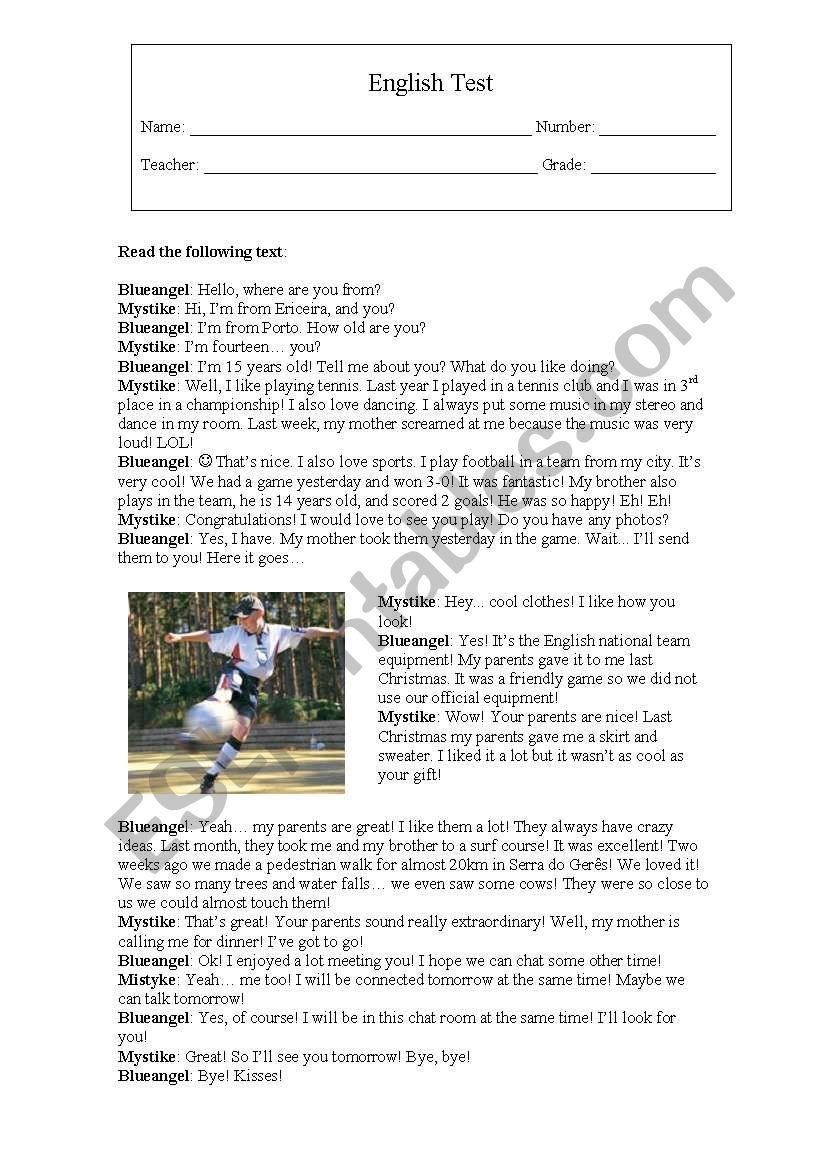 English Test: Sports worksheet