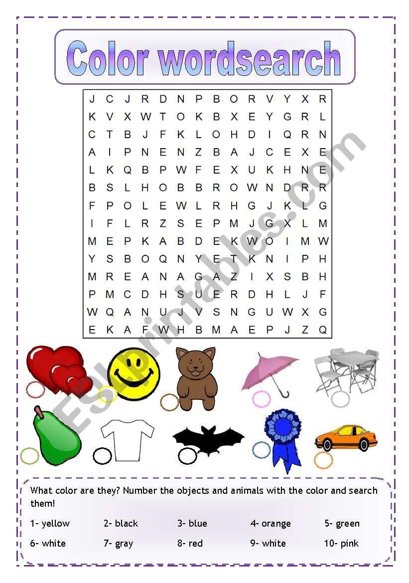 Color wordsearch worksheet