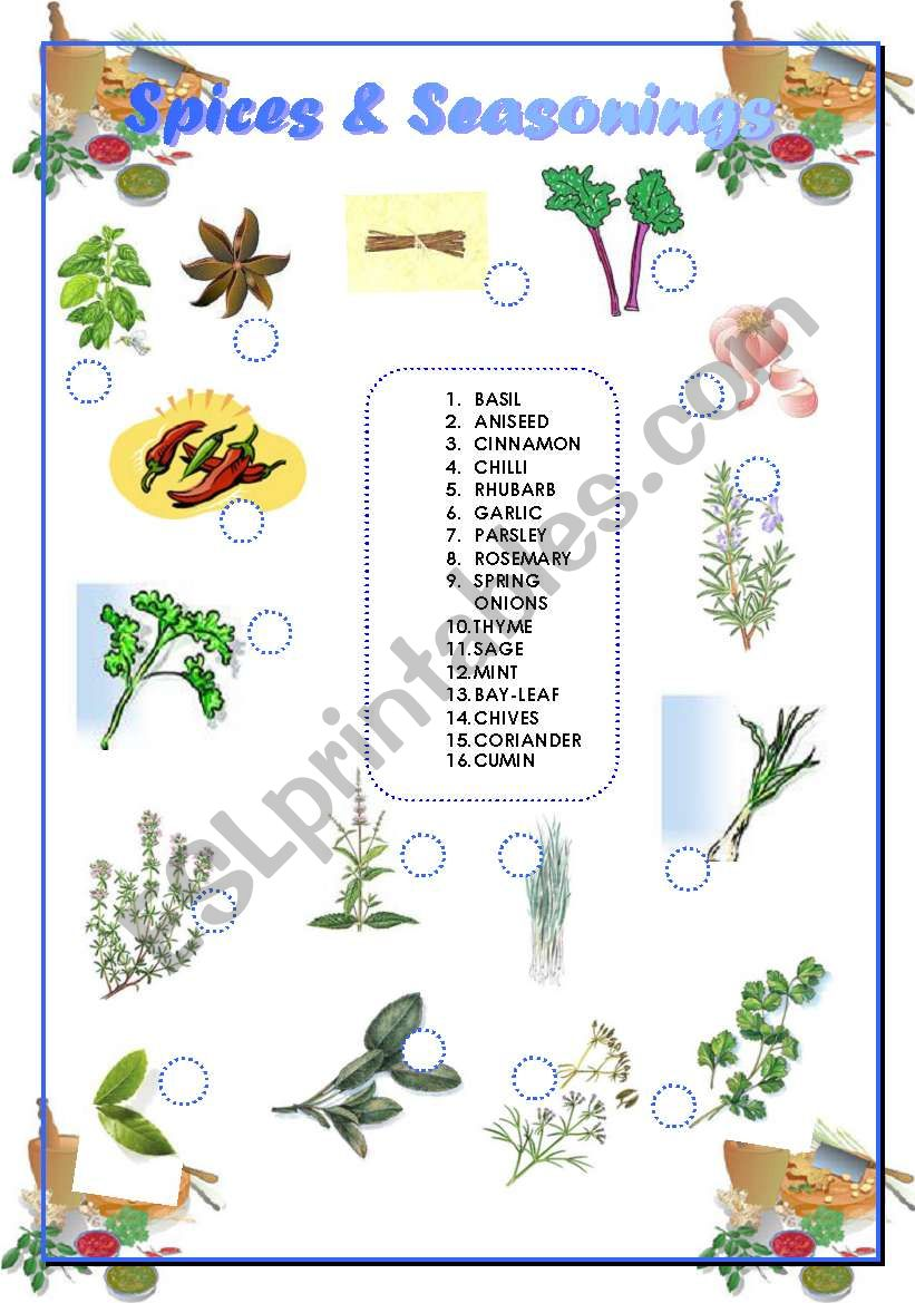 Spices  and Seasonings - Matching + Answer Key