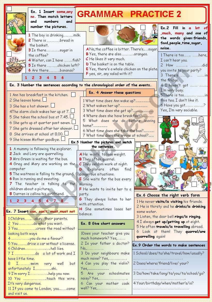 Grammar practice 2 worksheet