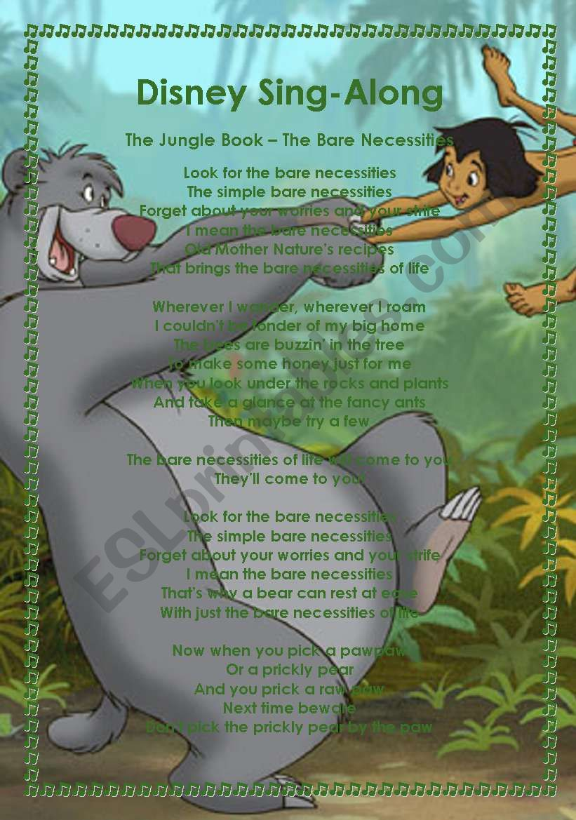Disney Sing-Along worksheet