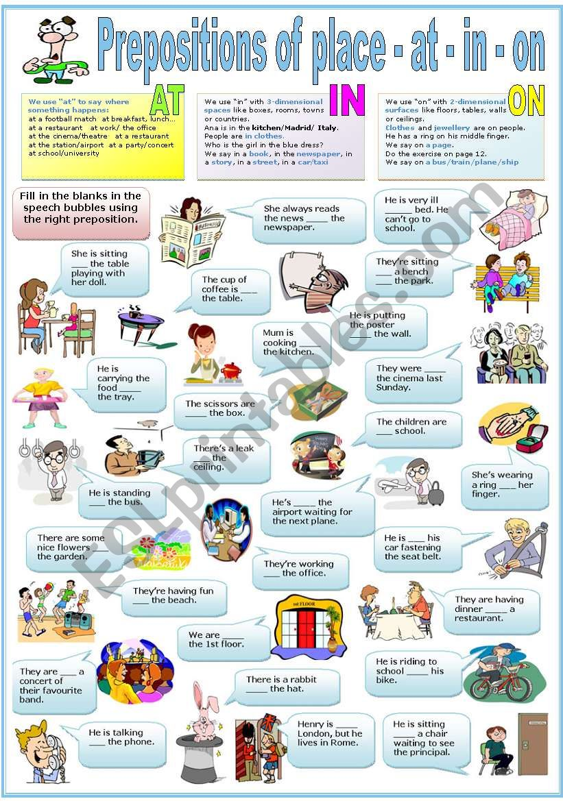 PREPOSITIONS OF PLACE - AT - IN - ON