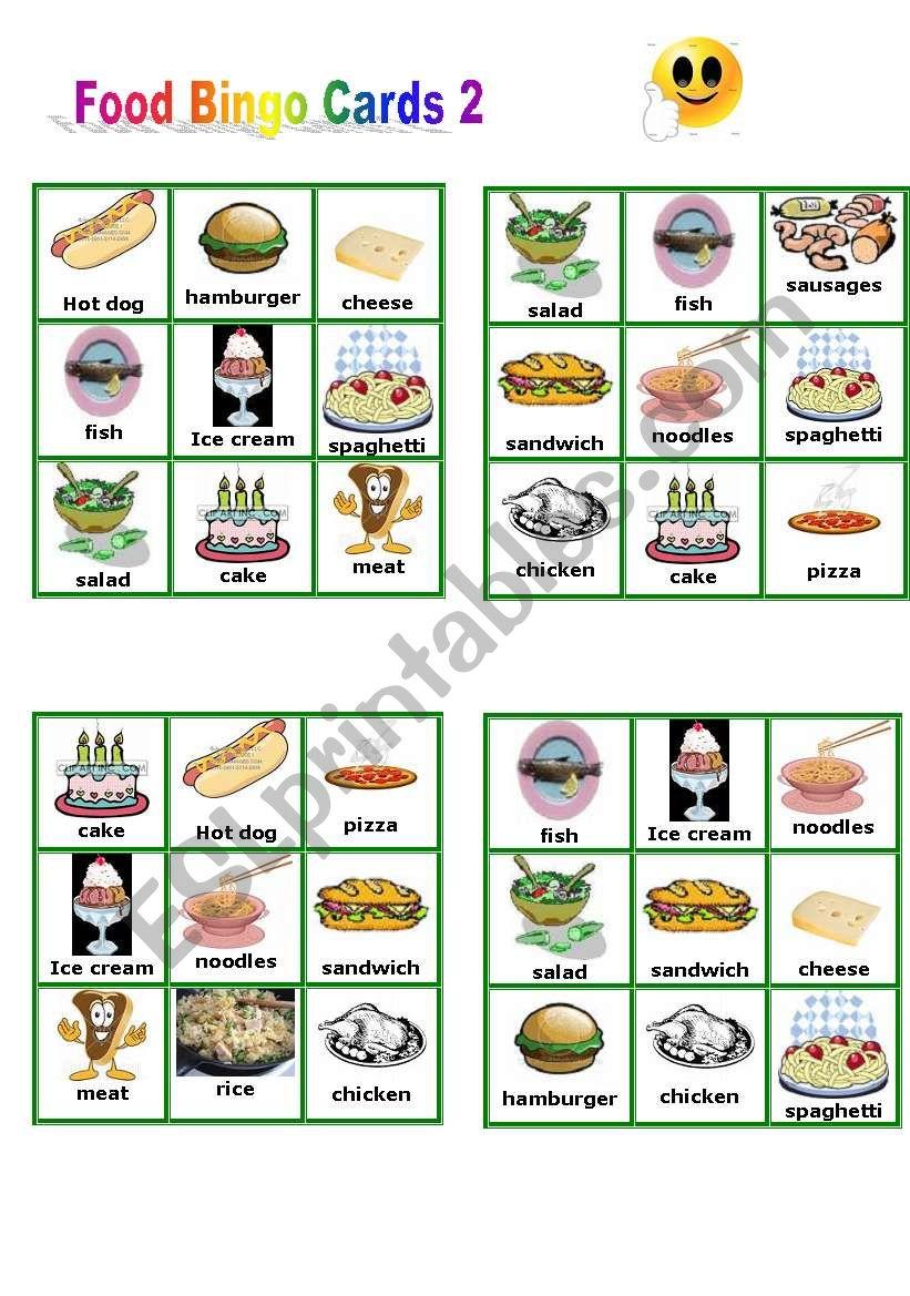 Food - Bingo Cards part 2 worksheet