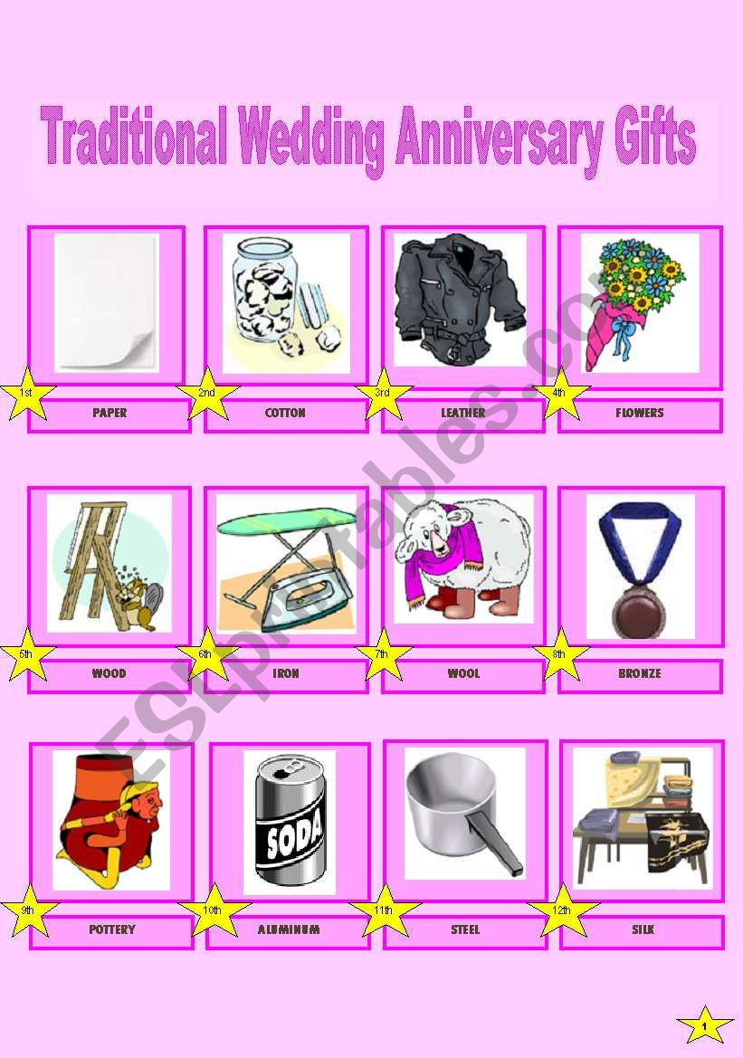 Pictionary Of Traditional Wedding Anniversary Gifts 12 Esl
