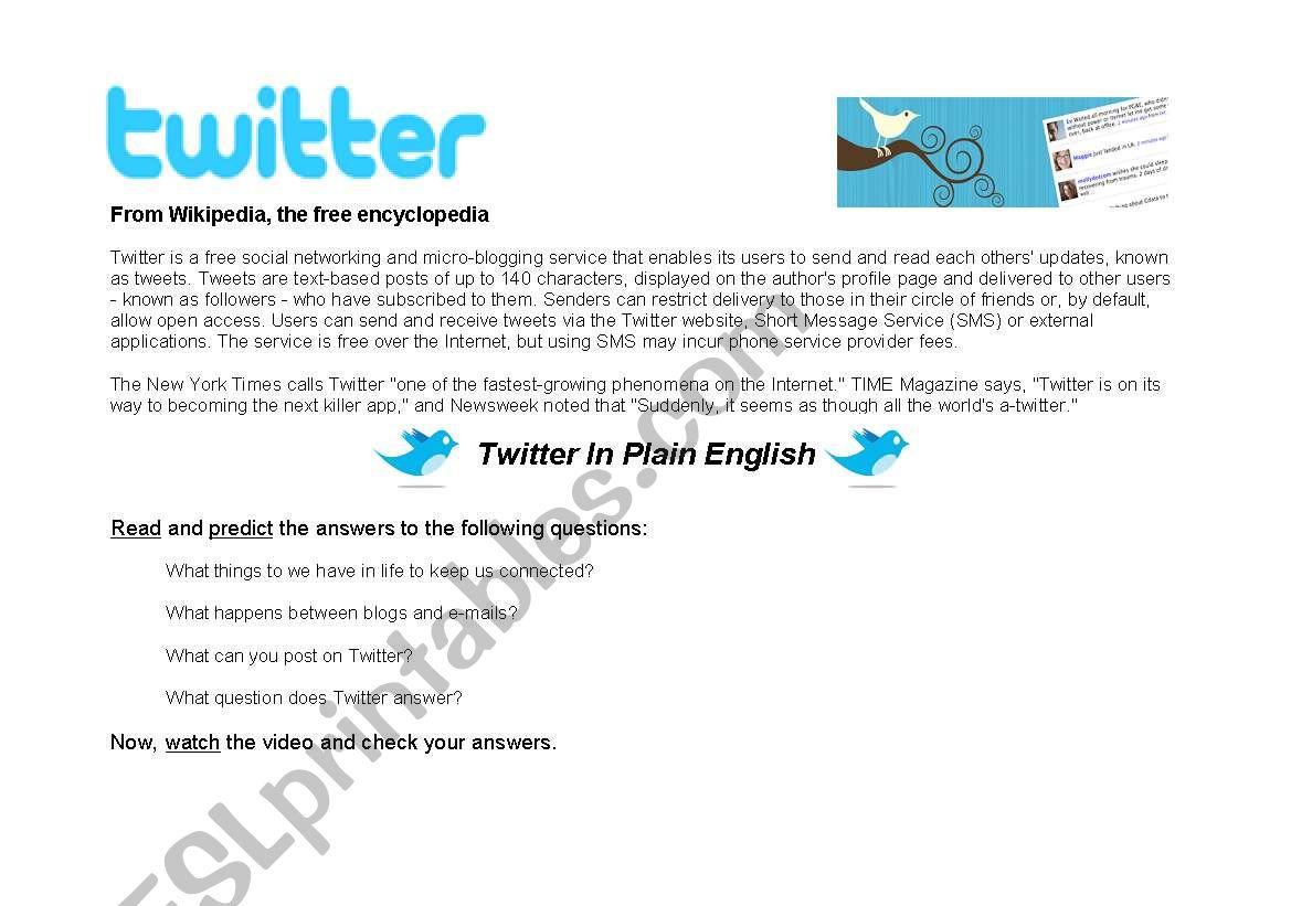 Twitter worksheet