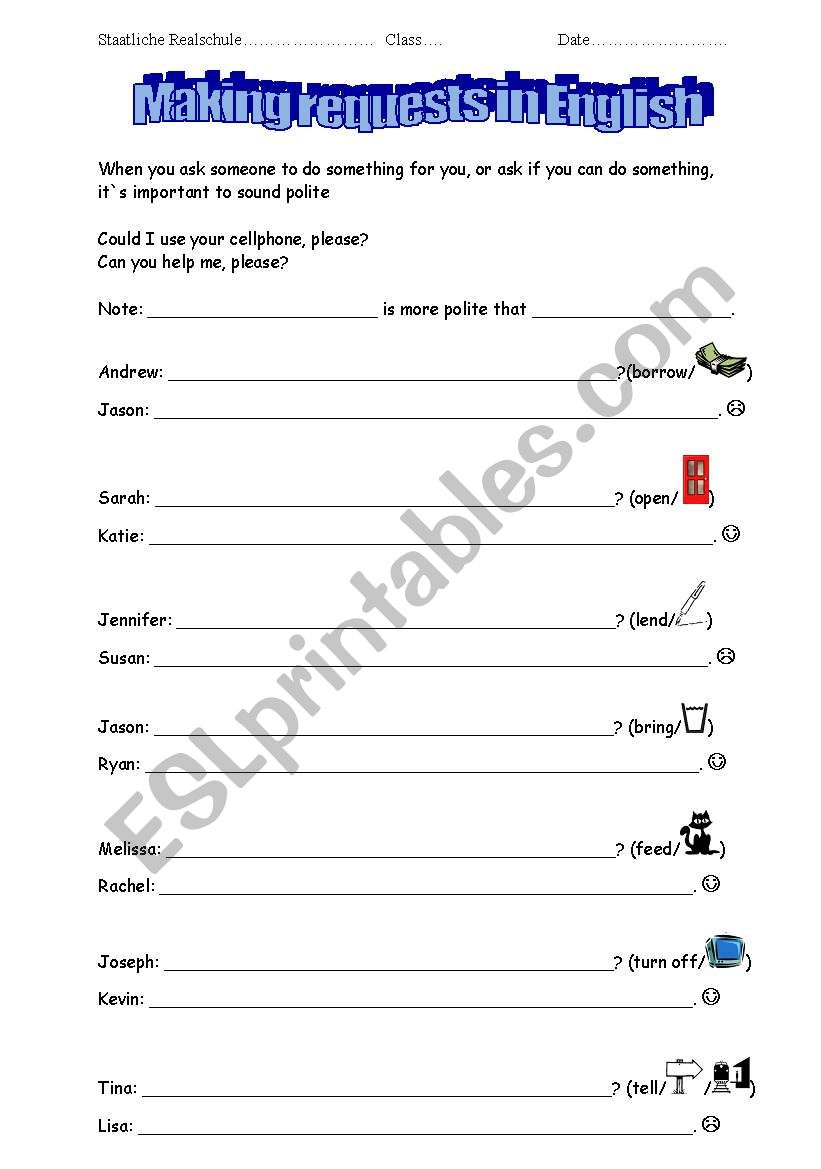 Making requests in English - ESL worksheet by kerstin4482