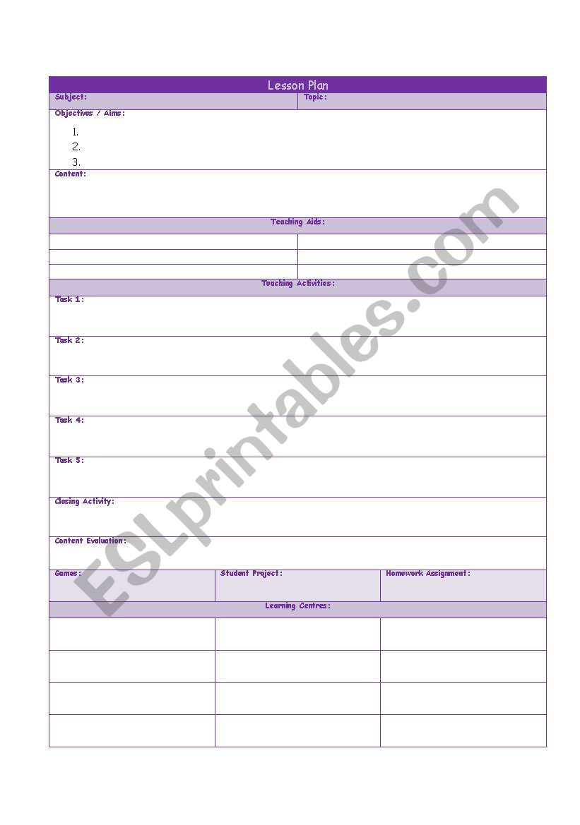 Lesson Plan Format and Simple worksheet