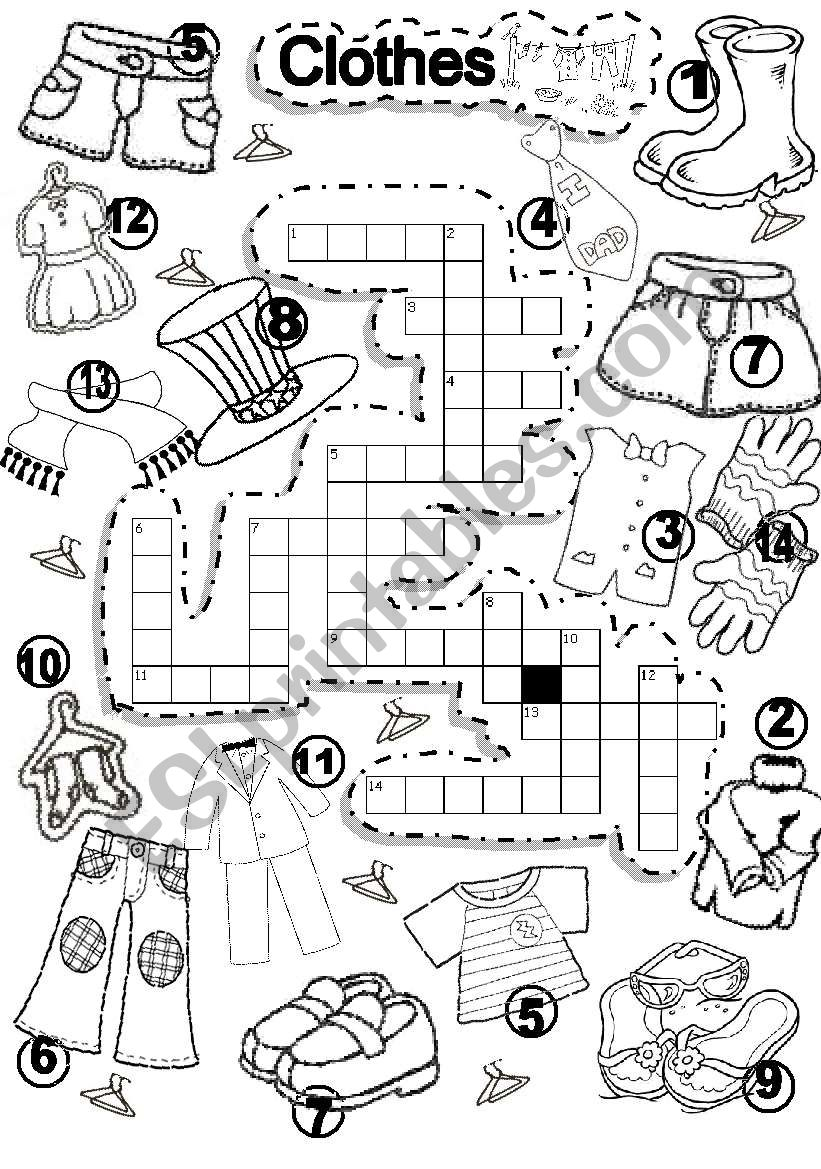 CLOTHES CRISS CROSS PUZZLE worksheet
