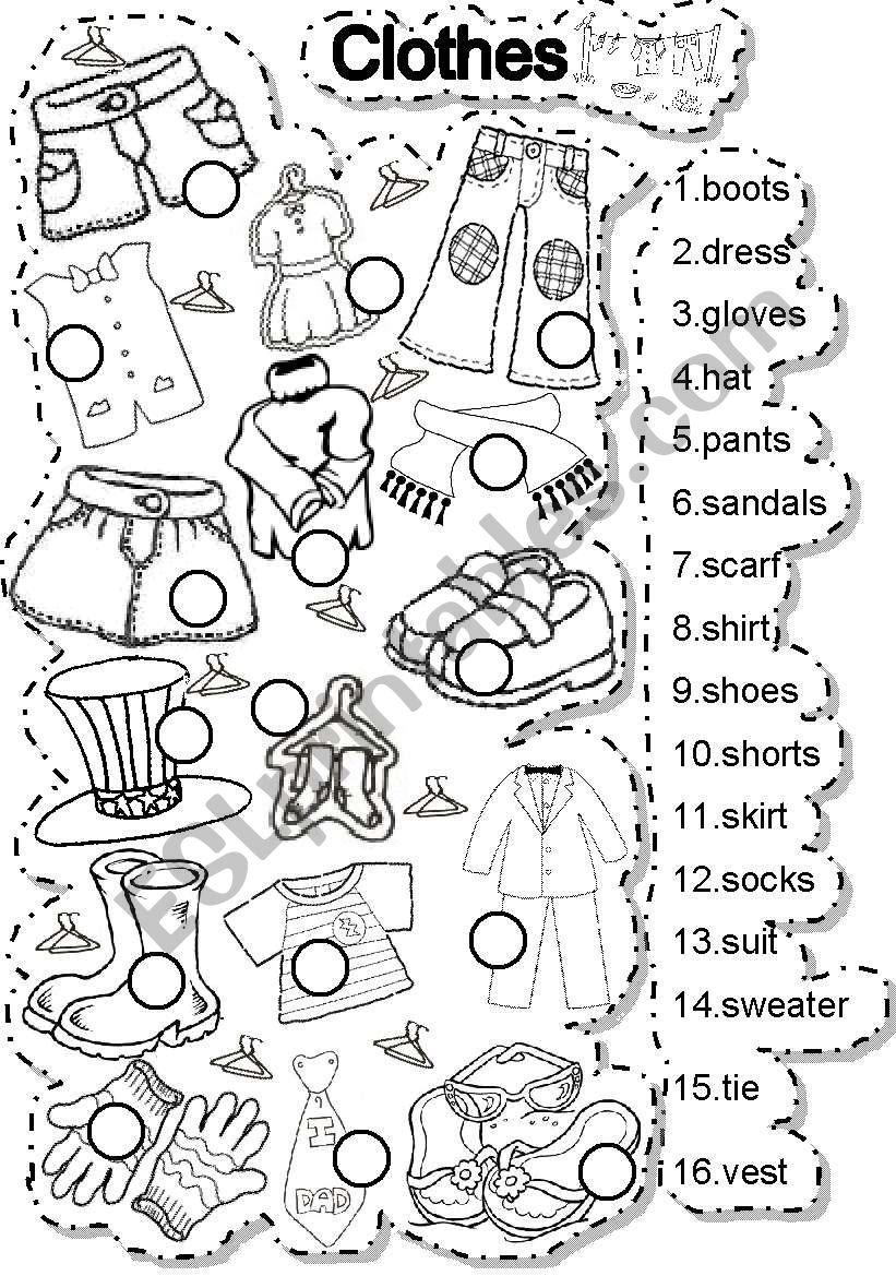 CLOTHES MATCH worksheet