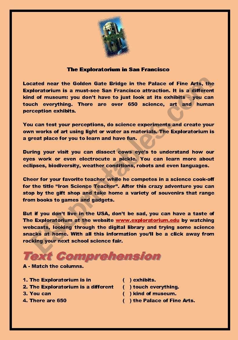 The Exploratorium worksheet