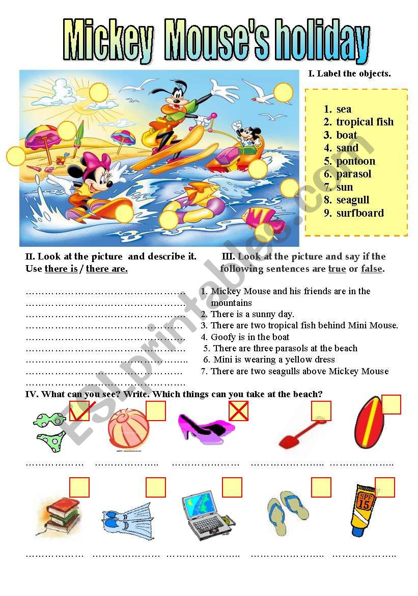 MICKEY MOUSE´S HOLIDAYS worksheet
