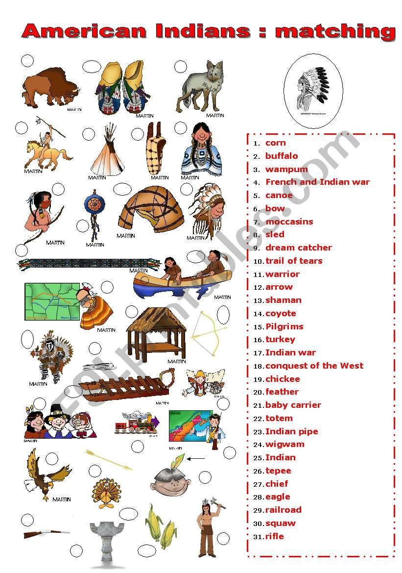INDIANS MATCHING worksheet