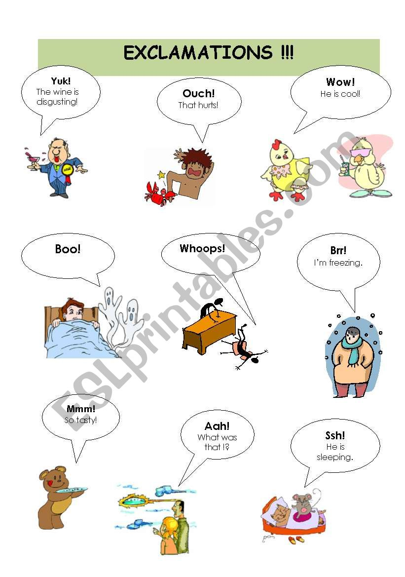 EXCLAMATIONS !!! worksheet