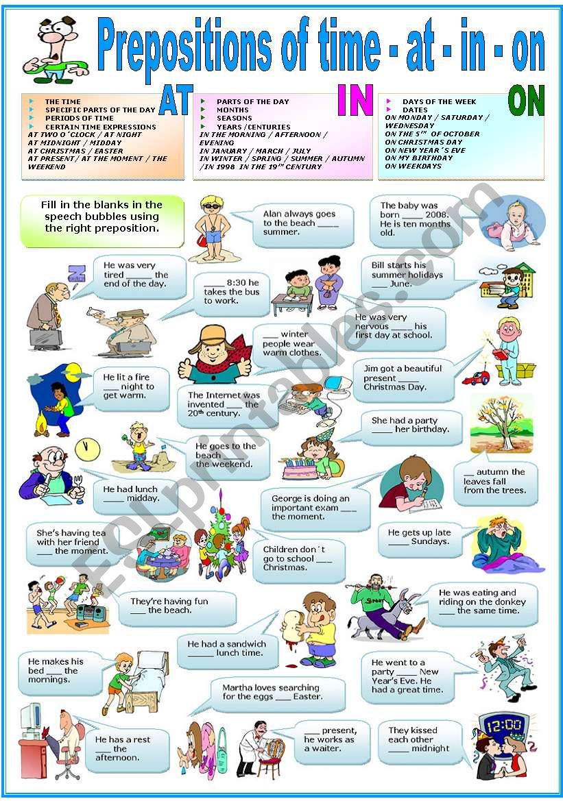 PREPOSITIONS OF TIME - AT-IN-ON