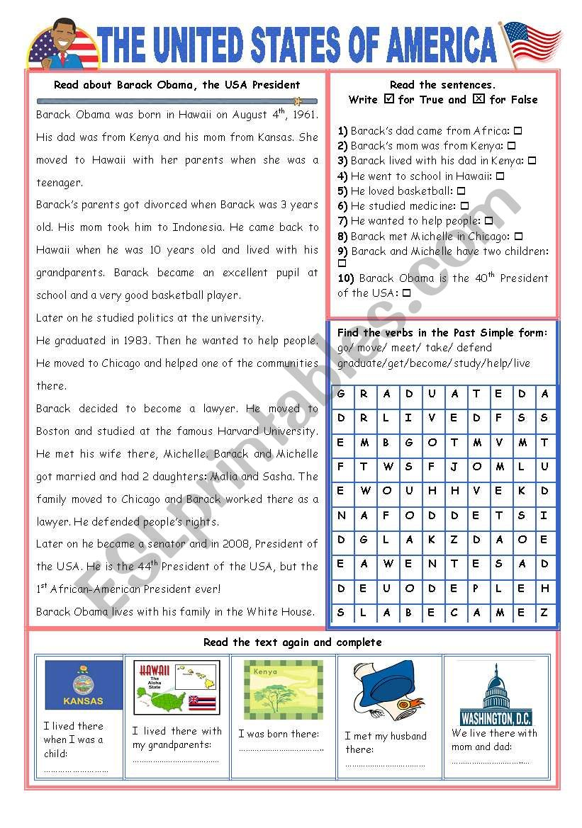 ENGLISH-SPEAKING COUNTRY (12) - THE USA - EXERCISES (2 pages)