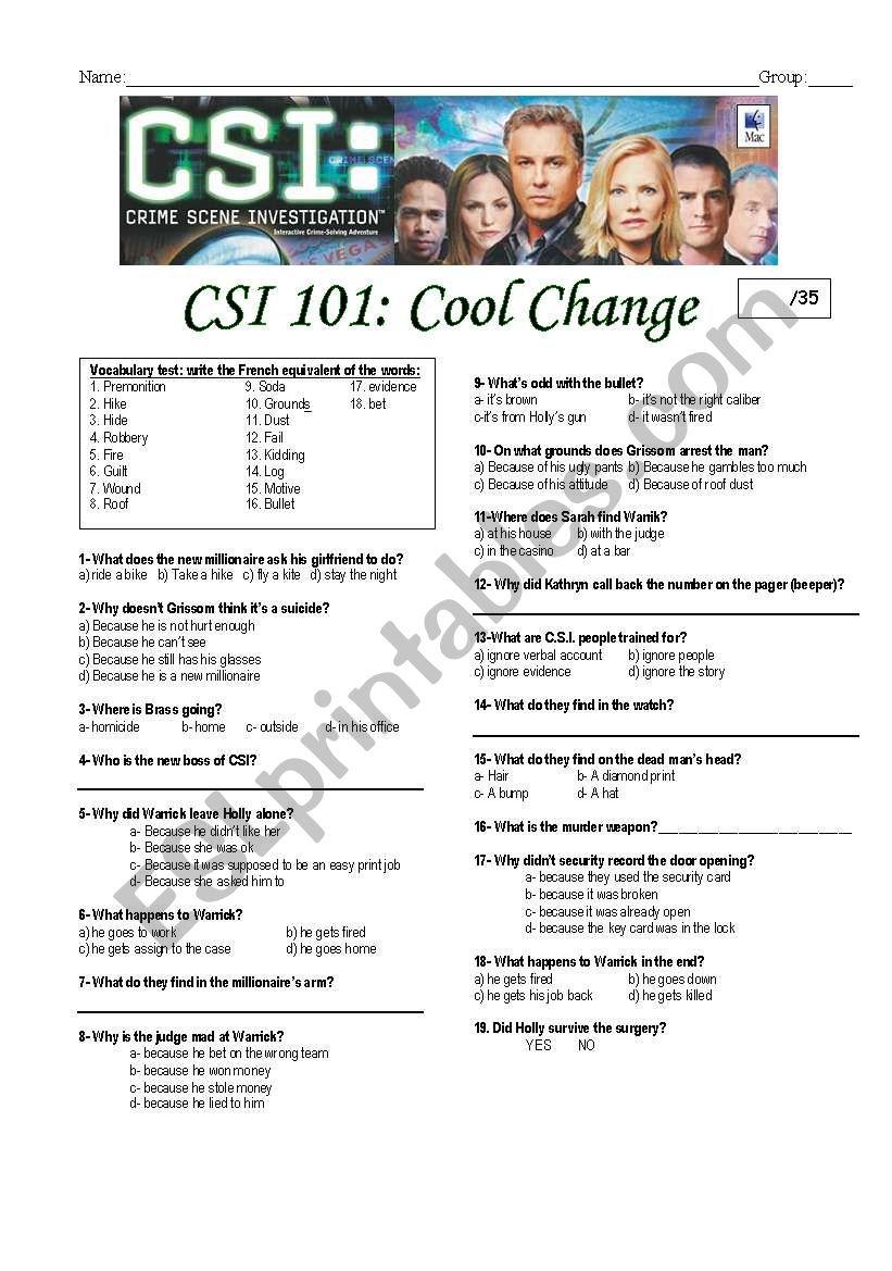 CSI las vegas episode 101-cool change
