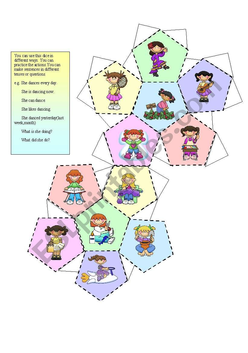 A dice ( for girls) worksheet