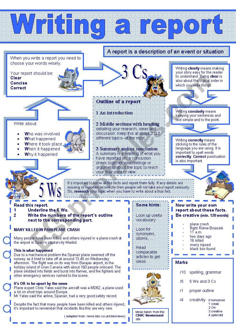 Writing a report worksheet