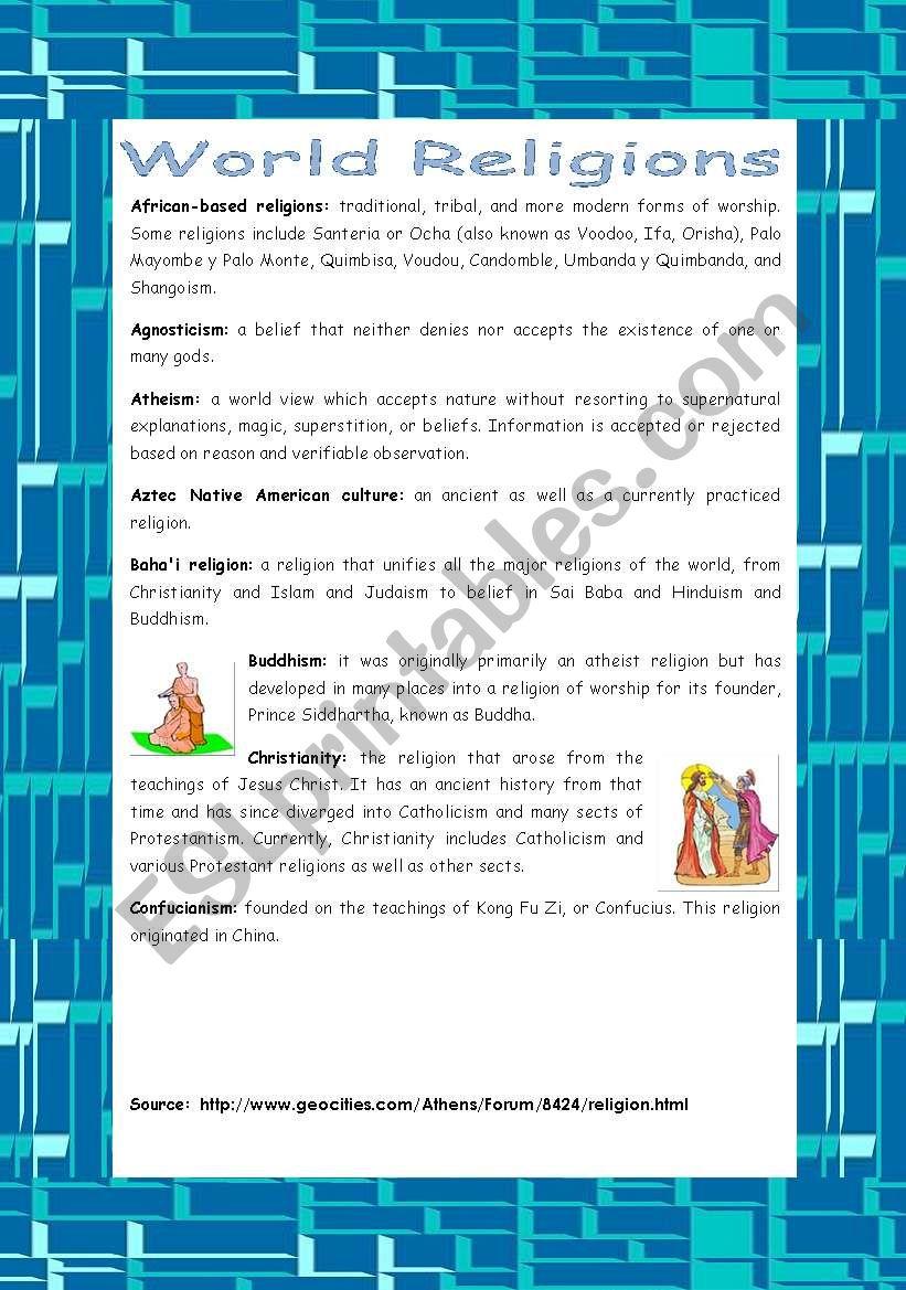 World Religions - Part 1 - ESL worksheet by erika_andel