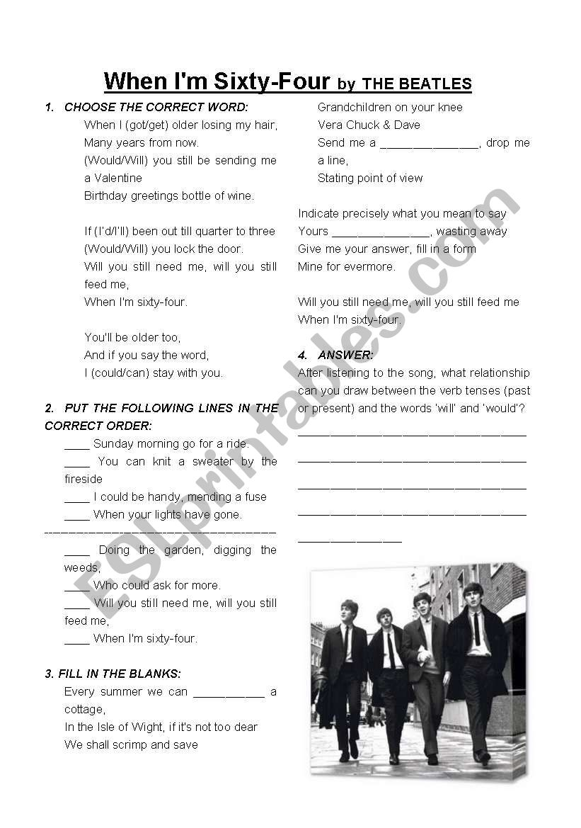 When I´m 64 by The Beatles worksheet