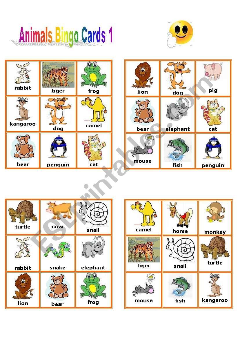 Animal Bingo Cards 1/3 worksheet