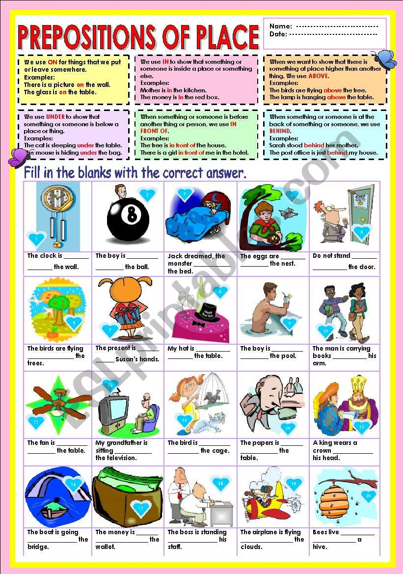 Prepositions - On,In,Above,Under,In front of and Behind.